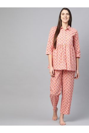 Yash Gallery Women Peach-Coloured & Pink Printed Night Suit