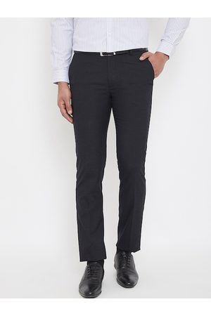 Canary London Men Black Slim Fit Solid Formal Trousers