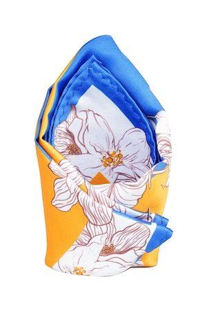 Tossido Men Blue & Yellow Printed Pocket Square