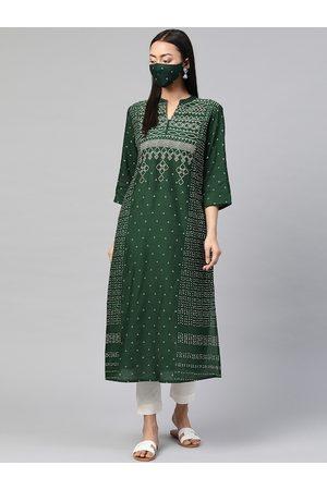 Juniper Women Green & White Bandhani Printed Liva A-Line Kurta with Mask