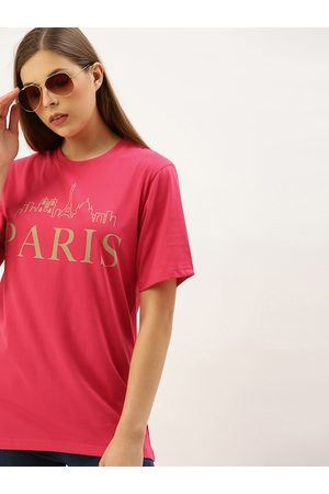 DILLINGER Women Magenta Pink Printed Loose Fit Round Neck Longline T-shirt