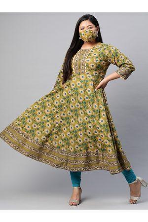 Yash Gallery Women Plus Size Olive Green & Beige Printed Anarkali Kurta with Mask
