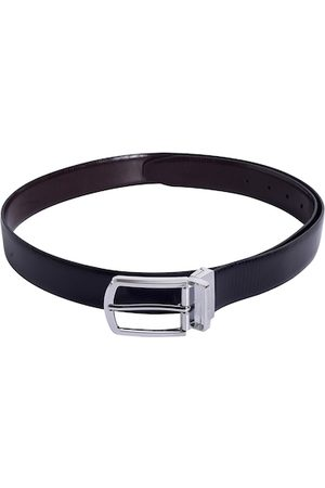 Lino Perros Men Black Textured Leather Belt