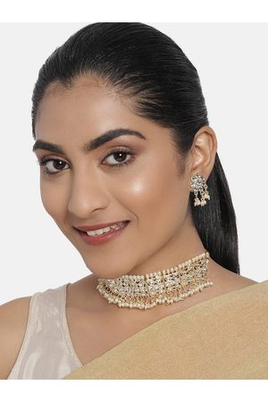 Zaveri Pearls White Gold-Plated Pearls & Kundan Studded Wedding Jewellery Set