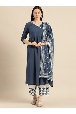 Varanga Women Blue & White Printed Kurta with Palazzos & Dupatta