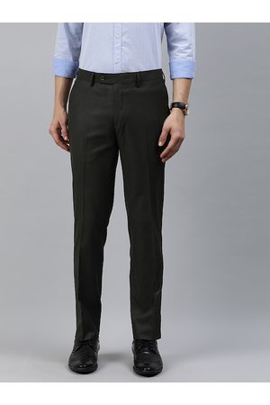 Arrow Men Brown Slim Fit Self-Design Semi-Formal Trousers