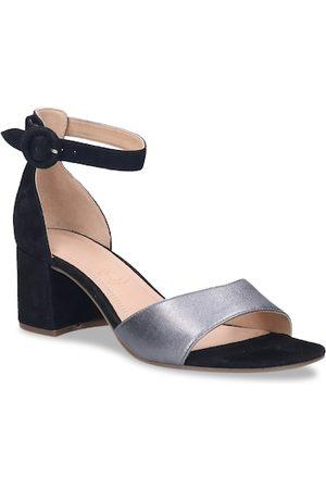 Bugatti Women Heels - Women Black & Grey Solid Block Heels
