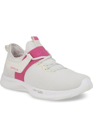 Campus Women Off-White Mesh Mid-Top Running Shoes