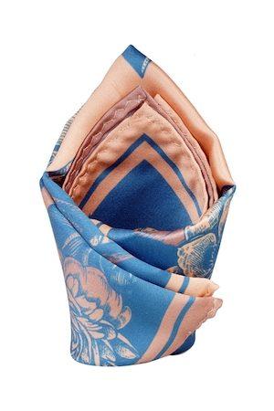 Tossido Men Blue & Peach-Coloured Printed Pocket Square