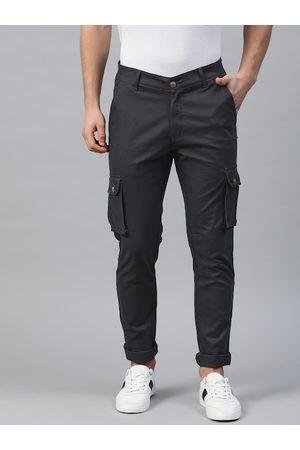 Hubberholme Men Navy Blue Slim Fit Solid Cargos Pants