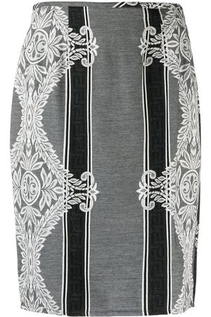 Jean Paul Gaultier Women Printed Skirts - 1990s lace print striped skirt