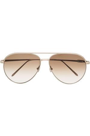 Linda Farrow 22kt -plated Roberts aviator-frame sunglasses