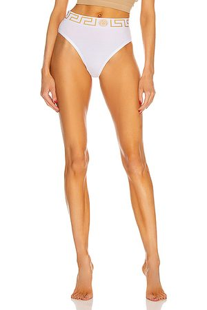 VERSACE High Waisted Bikini Briefs in Bianco Ottico