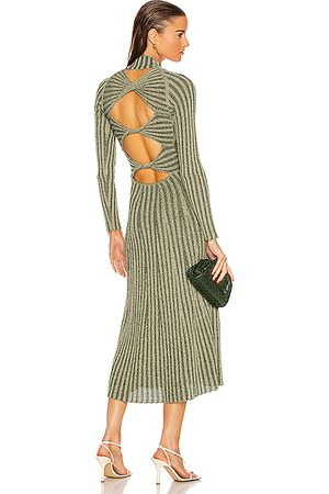 DION LEE Natural Stripe Rib Long Sleeve Dress in Pistachio & Forest