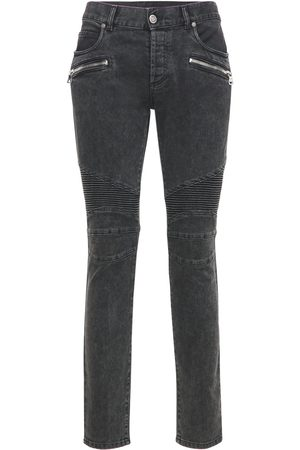 Balmain Ribbed Cotton Denim Slim Jeans