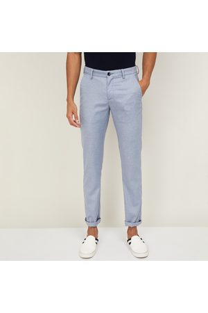 Allen Solly Men Slim Trousers - Men Solid Slim Straight Fit Casual Trousers