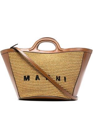 Marni Women Handbags - Logo-embroidered raffia tote