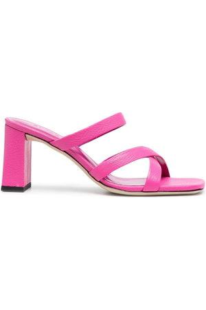 By Far Women Platform Sandals - Square-toe leather sandals