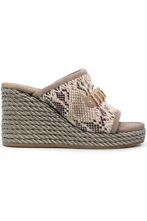 Mou Women Sandals - Snakeskin-effect wedge sandals