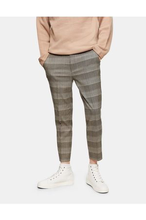 Topman Stretch skinny joggers in neutral check