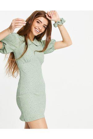 Miss Selfridge Mini bodycon dress with collar in sage