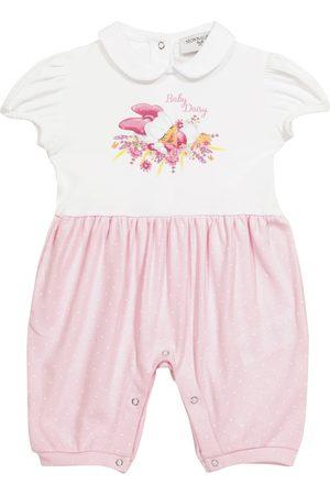 MONNALISA X Disney® Baby printed cotton jersey playsuit