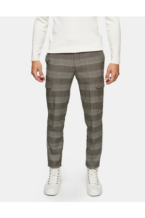 Topman Men Cargo Trousers - Stretch skinny cargo trousers in neutral check