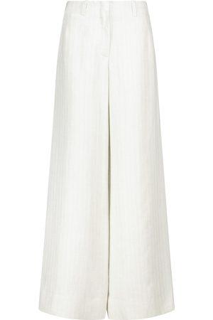 Loro Piana Women Wide Leg Trousers - Harve high-rise wide-leg linen pants