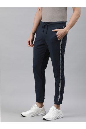 WROGN Men Navy Blue Side Striped Slim Fit Joggers