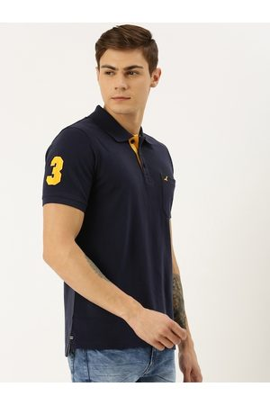 American Crew Men Navy Blue Solid Polo Collar T-shirt