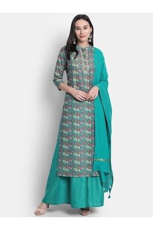 Janasya Women Green Printed Kurta with Palazzos & Dupatta