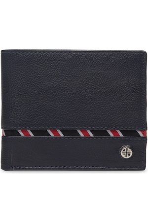 Carlton London Men Navy Blue Textured Leather RFID Two Fold Wallet