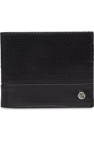 Carlton London Men Wallets - Men Black Self Design Two Fold Wallet