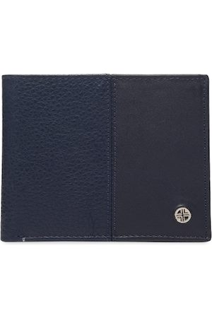 Carlton London Men Navy Blue & Tan Brown Textured Two Fold Wallet