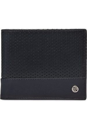 Carlton London Men Navy Blue Textured Leather Two Fold Wallet