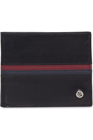 Carlton London Men Black & Navy Blue Striped Two Fold Wallet