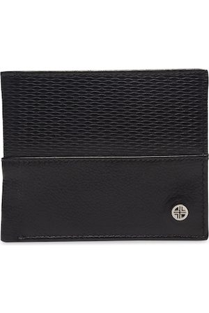 Carlton London Men Black Textured Two Fold Wallet