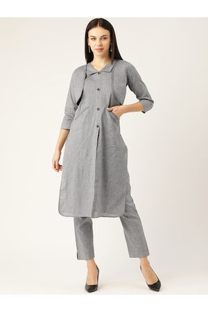 Cottinfab Women Trousers - Women Grey Solid Pure Cotton Kurta & Trousers with Attached Jacket