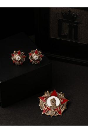 COSA NOSTRAA Men Cufflinks - Men Gold-Toned & Red Accessory Gift Set