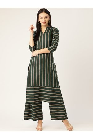 Cottinfab Women Palazzos - Women Green & Taupe Striped Kurta with Palazzos with Shimmer Detail