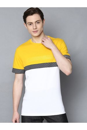 Antony Morato Men Yellow Colourblocked Round Neck T-shirt