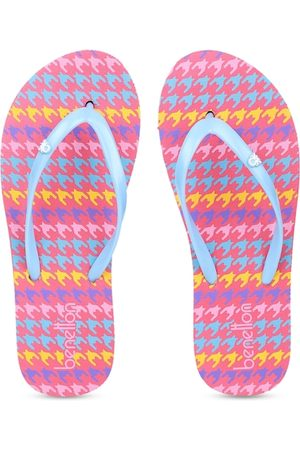 Benetton Women Slippers - Women Pink & Blue Printed Thong Flip-Flops