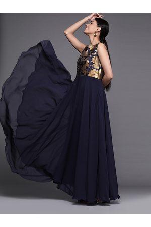 Inddus Women Navy Blue Self Design Gown Dress
