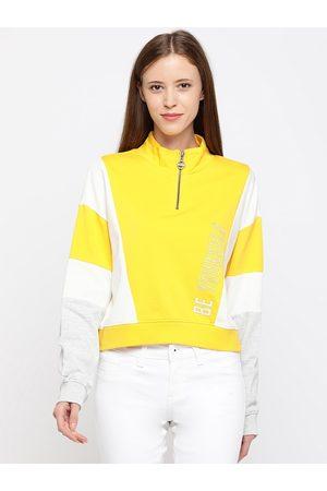 Pepe Jeans Women Yellow Colourblocked Sweatshirt