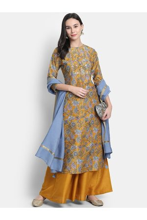 Janasya Women Mustard Yellow & White Printed Kurta with Palazzos & Dupatta