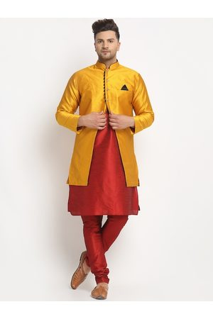 Benstoke Men Sherwanis - Men Maroon & Mustard Yellow Woven-Design Sherwani Set
