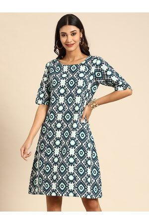 Varanga Women White & Teal Blue Printed A-Line Panelled Dress with Pockets