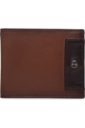 Carlton London Men Tan & Black Solid Two Fold Wallet