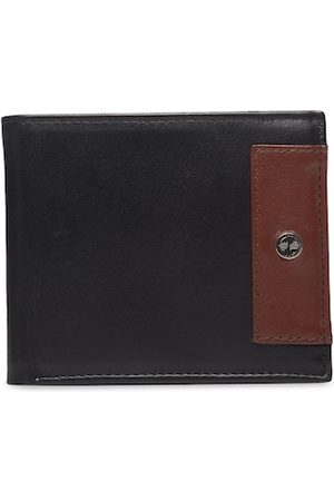 Carlton London Men Black Colourblocked Leather RFID Two Fold Wallet