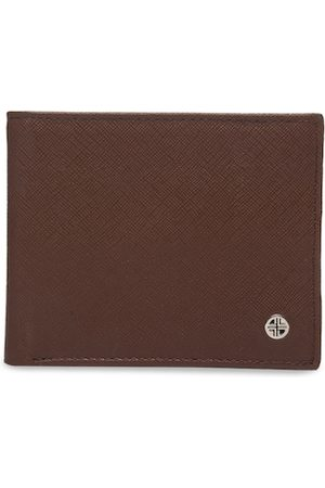 Carlton London Men Brown Textured Two Fold Wallet